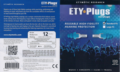 ETY•Plugs Earplugs Standard Fit - Clear Stem/Blue Tip ER20 ER-20 - Click Image to Close